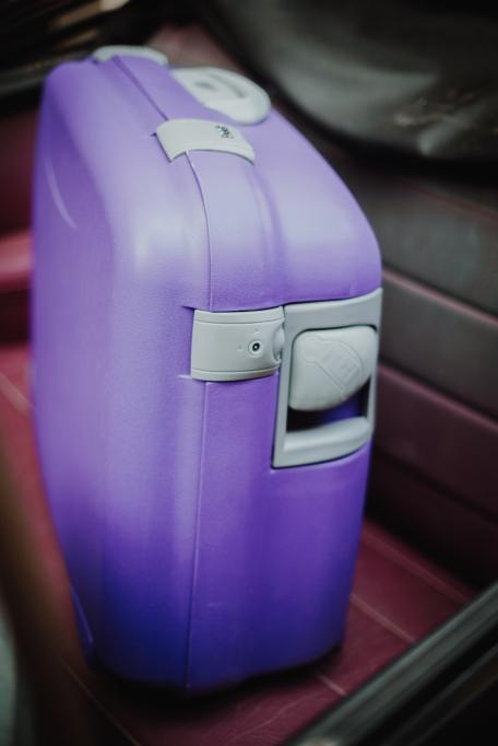 Purple Polypropelene bag.